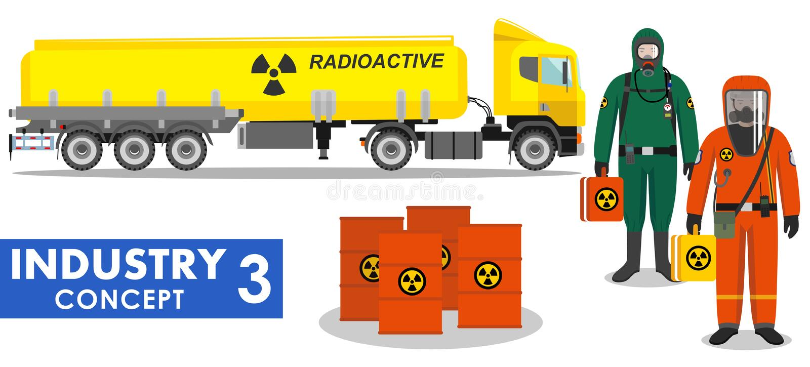 Industry concept. Detailed illustration of cistern truck carrying chemical, radioactive vector illustration