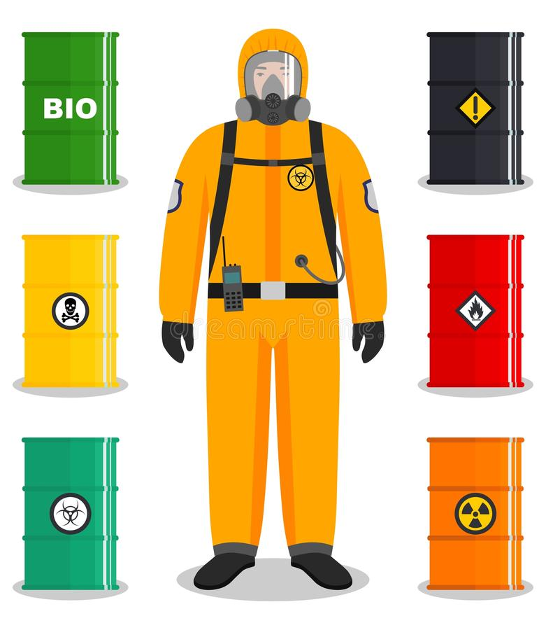 Industry concept. Detailed illustration of worker in protective suit. Metal barrels for oil, biofuel, explosive. Man in orange protective suit in flat style royalty free illustration