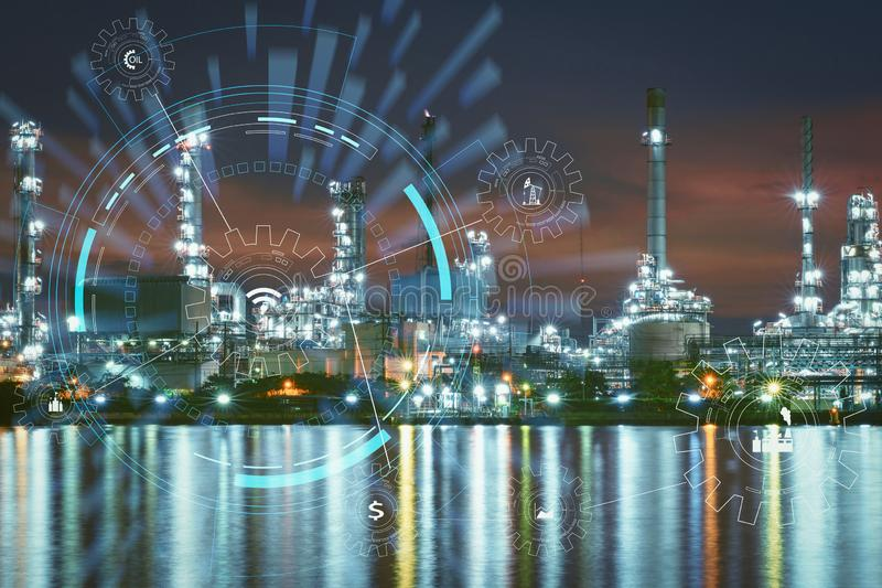Industry 4.0 concept image.Oil refinery smart factory with icon royalty free stock photography