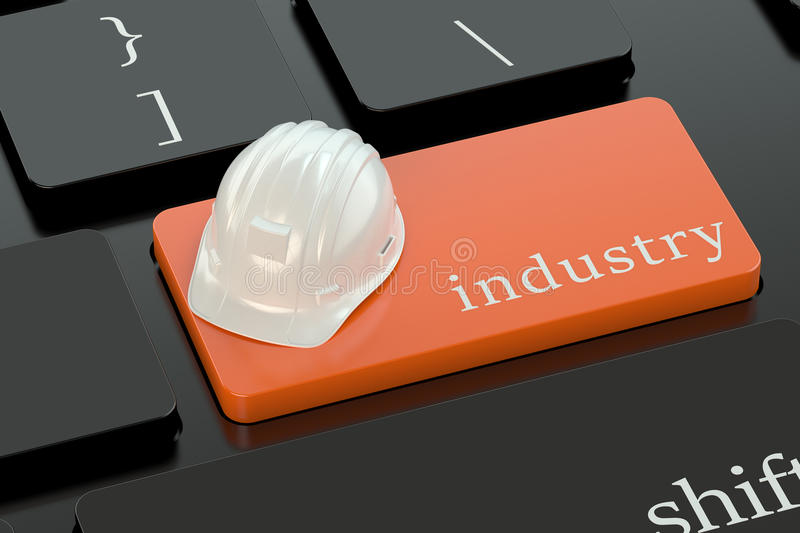Industry concept on keyboard button. Engineering concept on orange keyboard button stock illustration