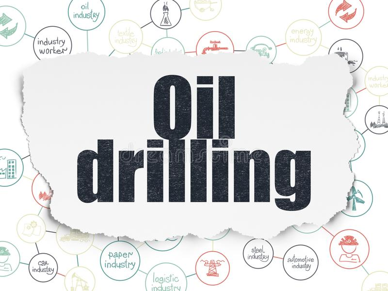 Industry concept: Oil Drilling on Torn Paper background. Industry concept: Painted black text Oil Drilling on Torn Paper background with Scheme Of Hand Drawn royalty free illustration