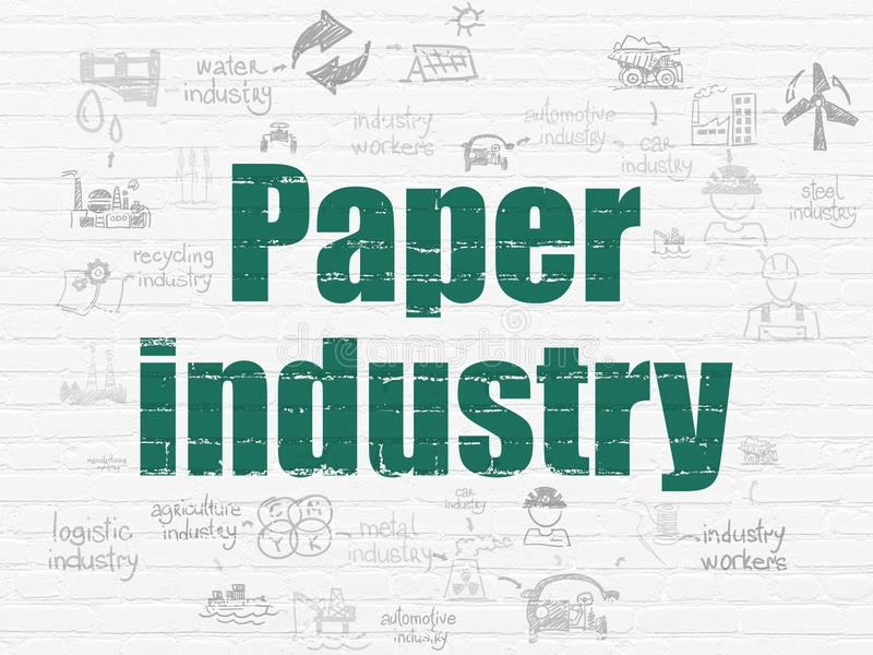 Industry concept: Paper Industry on wall background. Industry concept: Painted green text Paper Industry on White Brick wall background with Scheme Of Hand Drawn royalty free illustration
