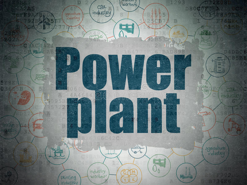 Industry concept: Power Plant on Digital Data Paper background stock illustration
