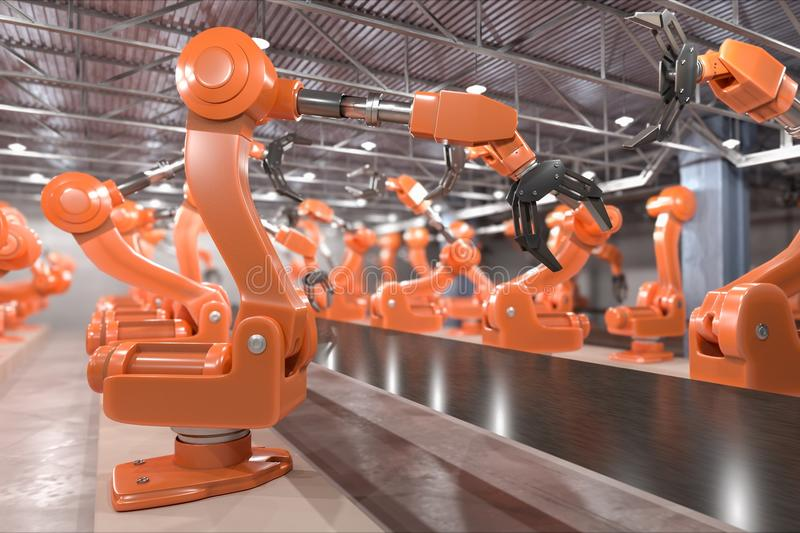 Industry 4.0 concept. Robotic arms in factory. 3D rendered illustration.  royalty free illustration