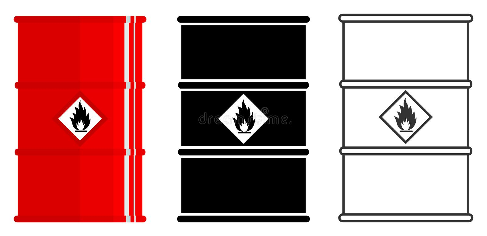 Industry concept. Set of different barrels for radioactive, toxic, hazardous, dangerous, explosive, flammable and royalty free illustration