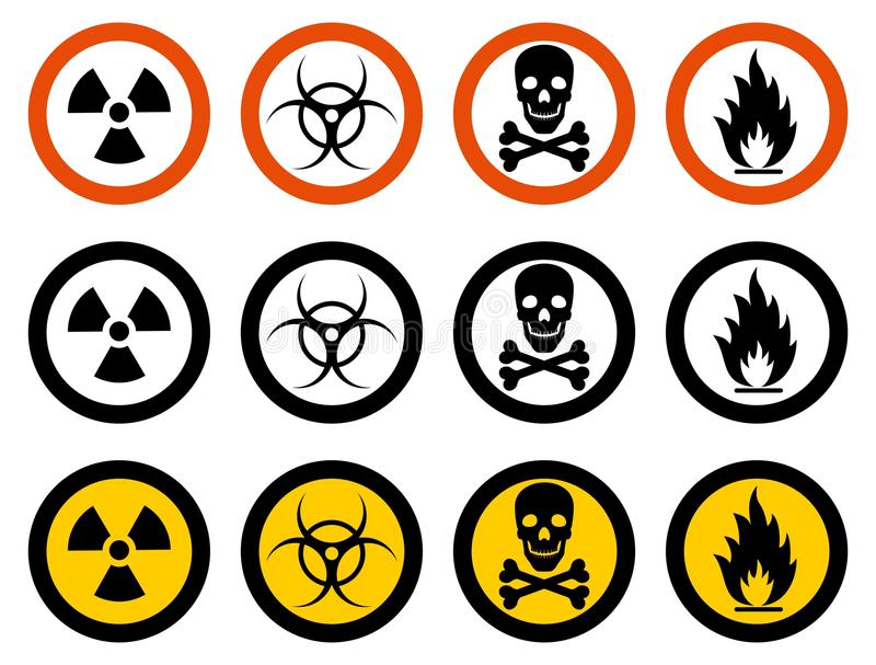 Industry concept. Set of different signs: chemical, radioactive, dangerous, toxic, poisonous, hazardous substances. Dangerous concept. Set of different signs of vector illustration