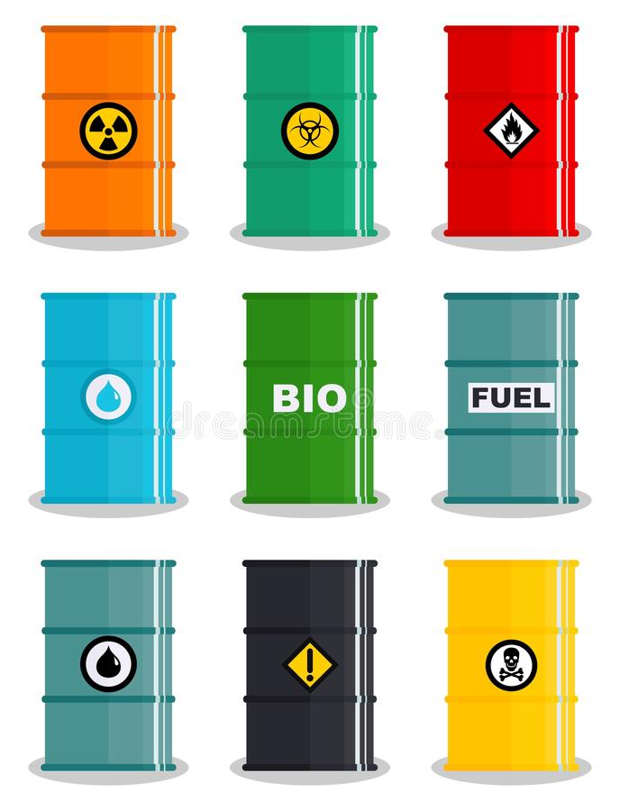 Industry concept. Set of different silhouettes barrel for liquids: water, oil, biofuel, explosive, chemical, radioactive. Industry concept. Set of different vector illustration