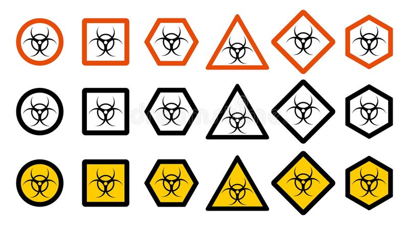 Industry concept. Set of different toxic hazard signs for your web site design, logo, app, UI. Chemical symbol isolated vector illustration