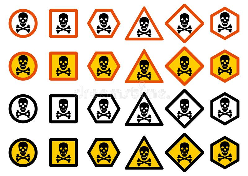 Industry concept. Set of different warning signs: chemical, radioactive, dangerous, toxic, poisonous hazard. Danger sign with skul stock illustration
