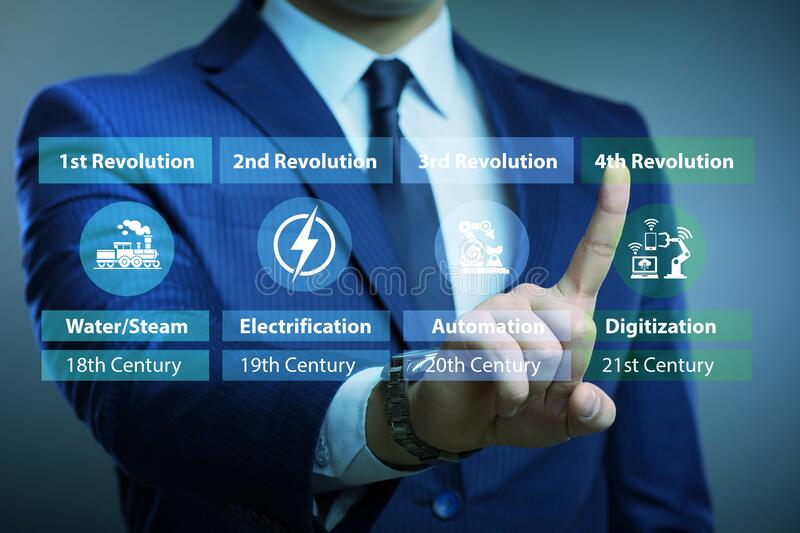 Industry 4.0 concept and stages of development stock photos