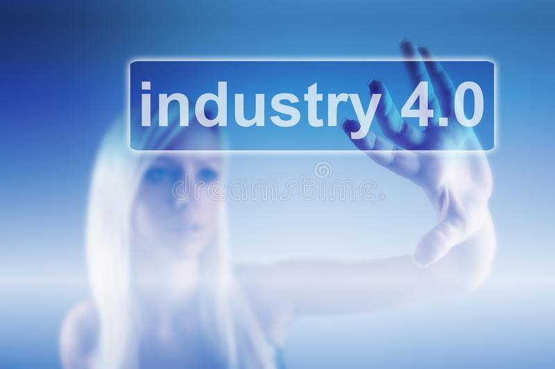 Industry 4.0 concept, woman and robot background royalty free stock image