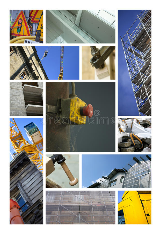 Industry and construction sites. Construction site and industrial equipment on a collage royalty free stock image