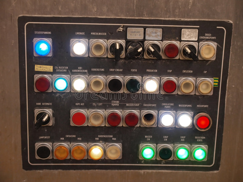 Industry control panel. Industry factory control panel with switches and lights stock photos