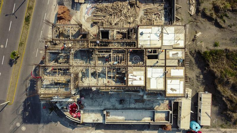 Drone photo of civil construction site. stock photo