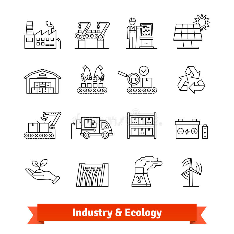 Industry and Ecology thin line art icons set royalty free illustration