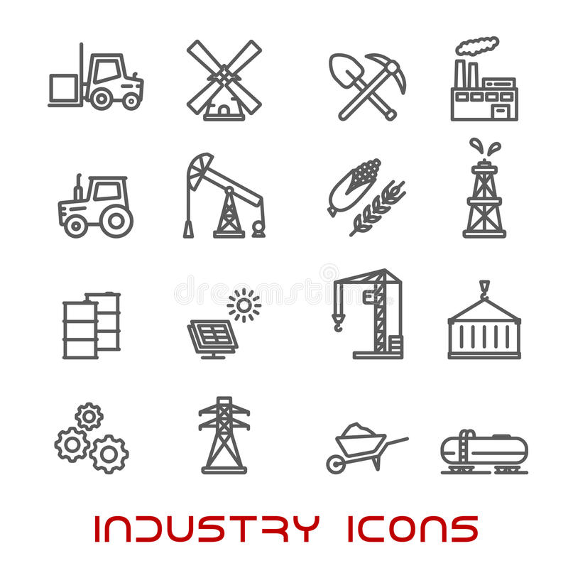 Industry and ecology thin line icons vector illustration