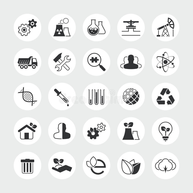 Industry and ecology total vector icon set. Industrial, eco, plant, nature, factory, chemistry laboratory, environment, pollution and others vector illustration