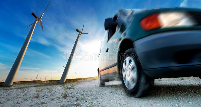 Industry of electric car and renewable energy concept royalty free stock image