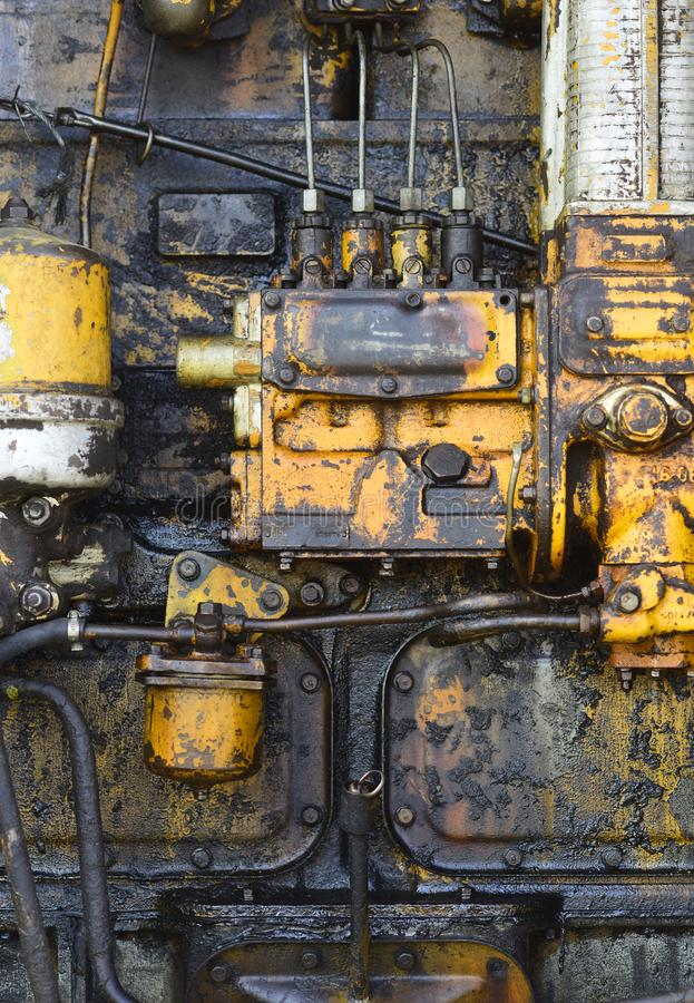 Industry, engineering, machine. Machinery with oil dirt on grunge metal background. Factory, manufacture equipment. Old technology, vintage Device tool gear stock photos