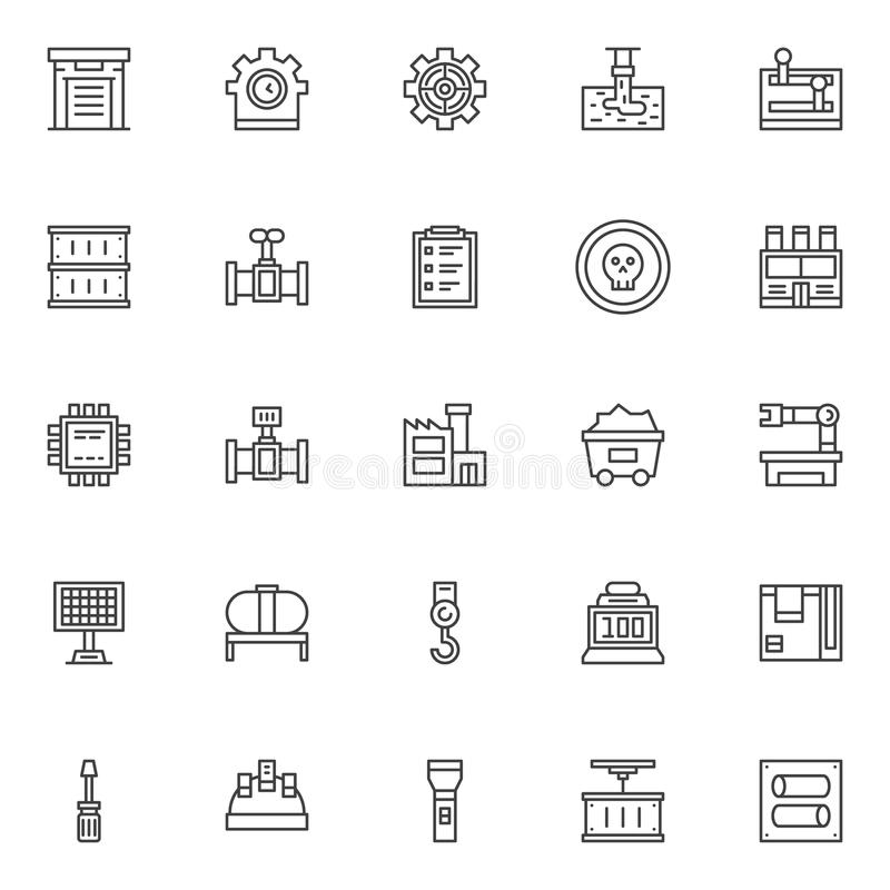 Industry factory outline icons set vector illustration
