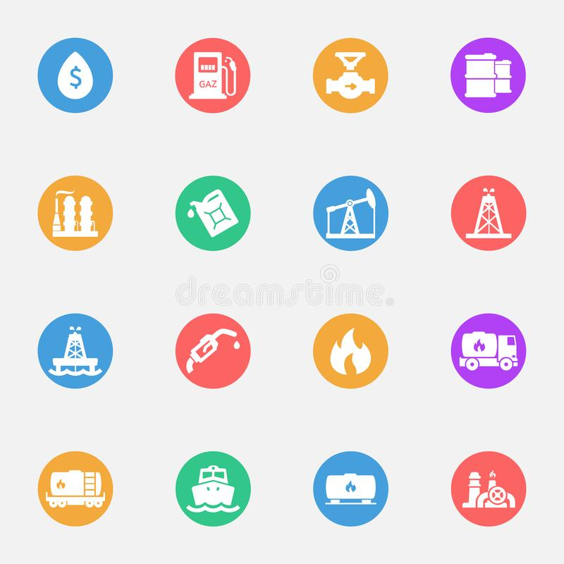 Industry, factory, powerand fuel vector flat icons stock illustration