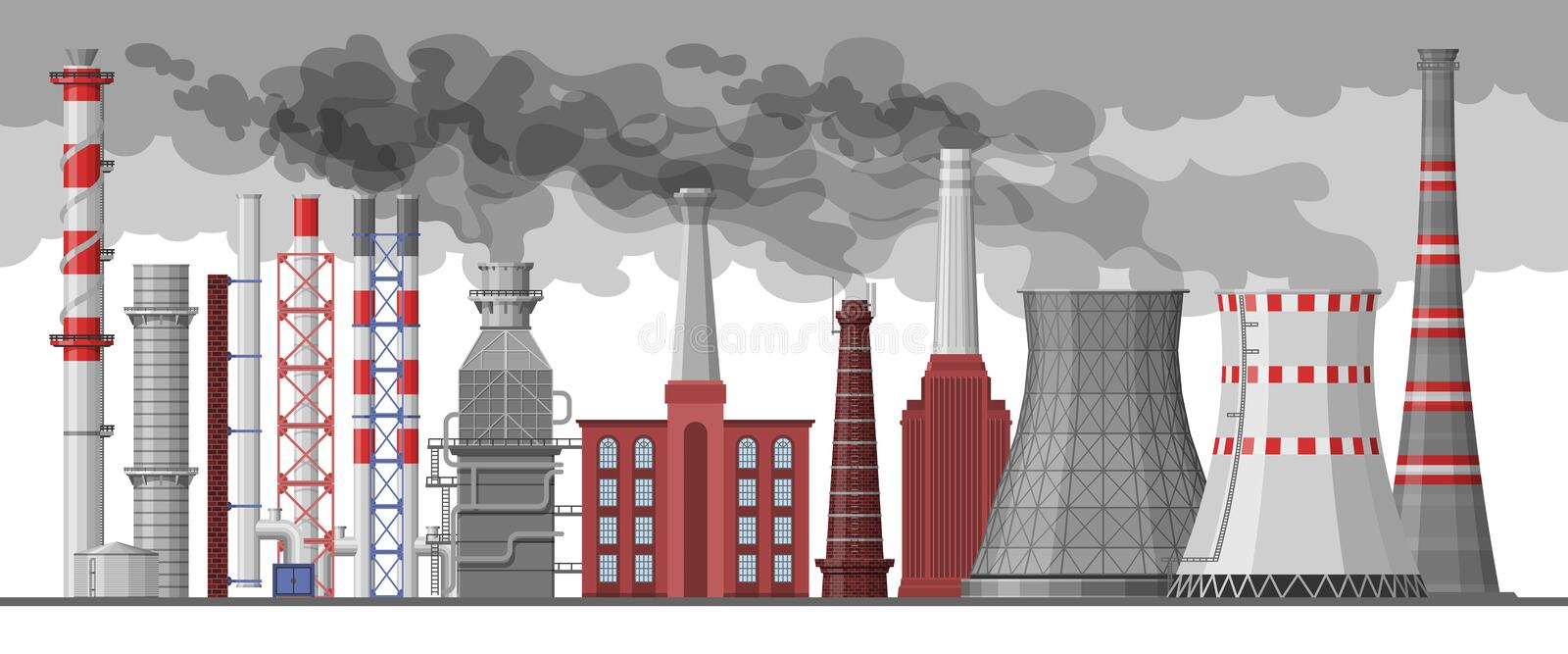 Industry factory vector industrial chimney pollution with smoke in environment illustration set of chimneyed pipe royalty free illustration