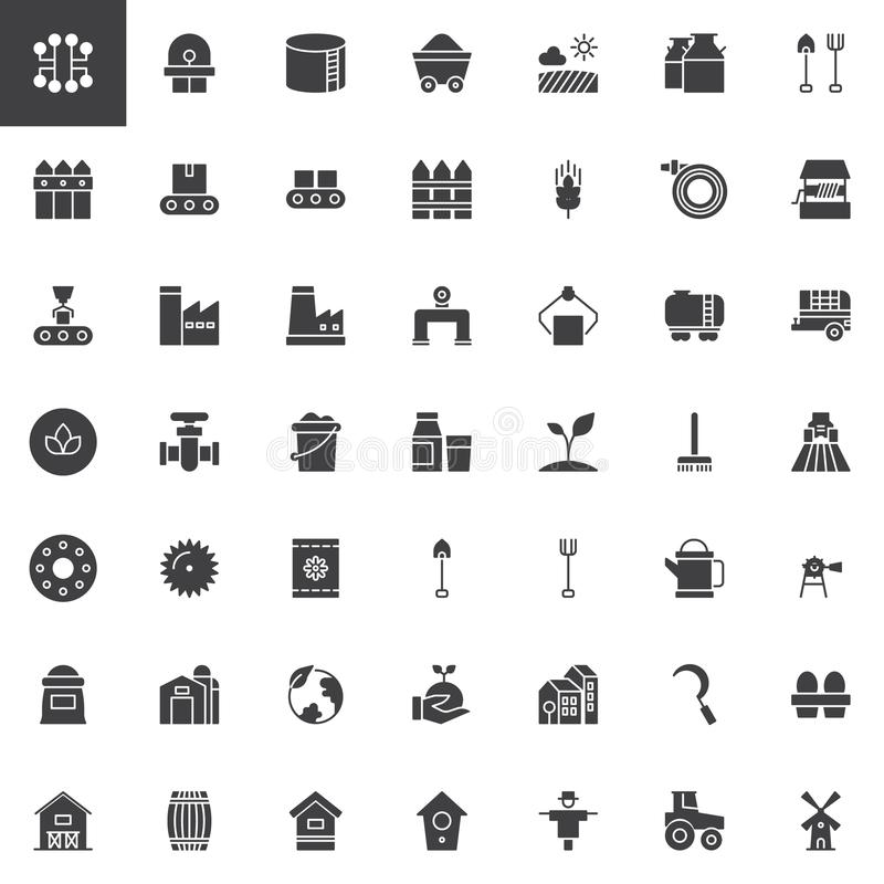 Industry and farming vector icons set vector illustration