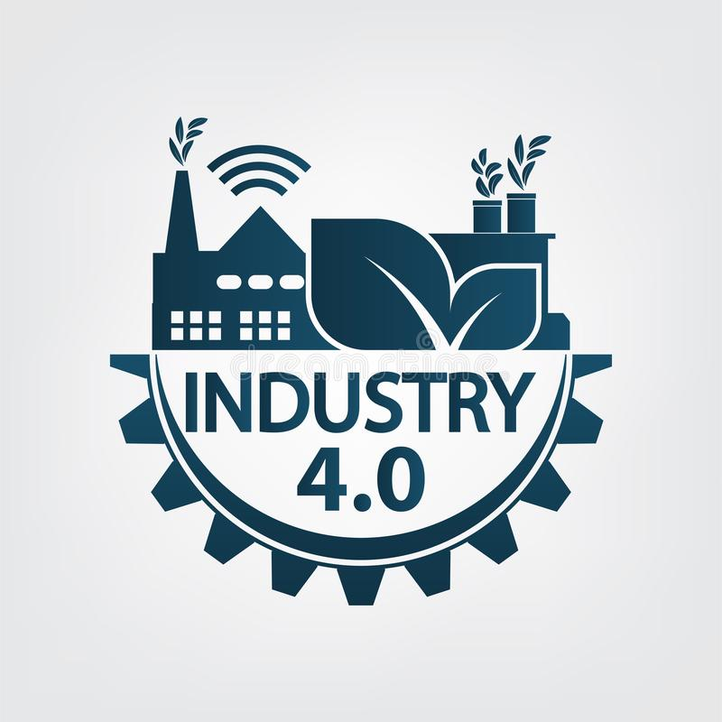 Industry 4.0 icon,logo factory,technology concept.vector illustration vector illustration