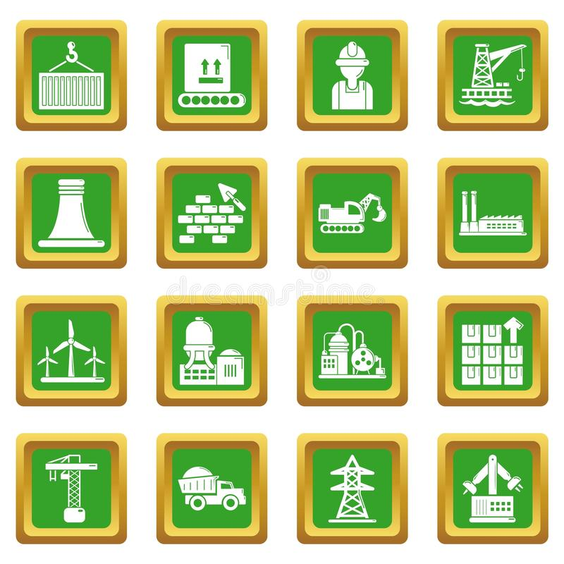 Industry Icons Set Green Square Stock Illustration ...