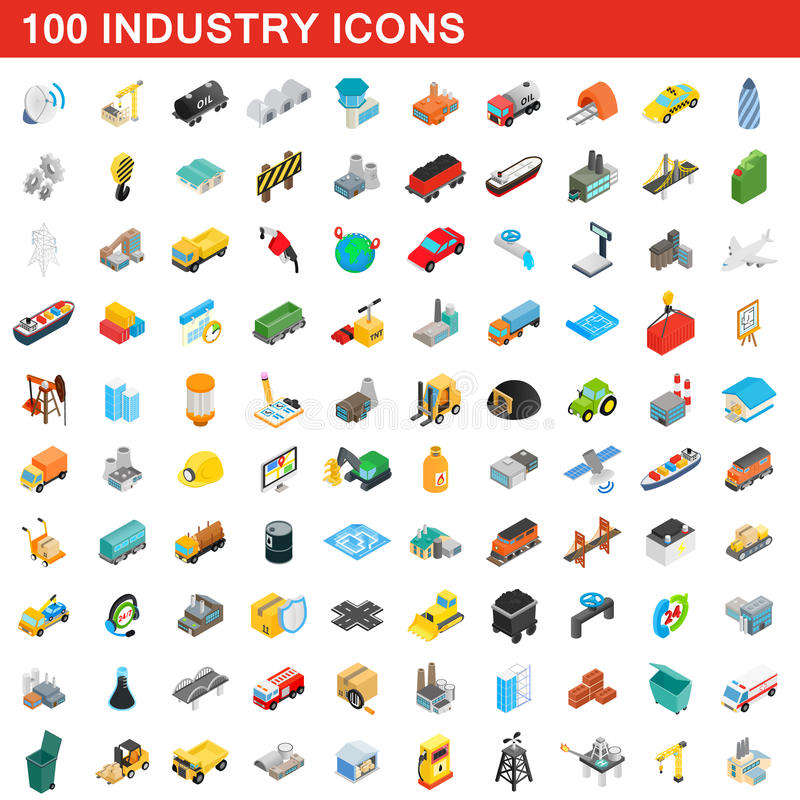 100 industry icons set, isometric 3d style. 100 industry icons set in isometric 3d style for any design vector illustration royalty free illustration