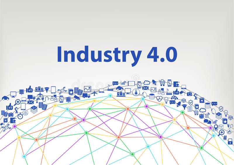 Industry 4.0 illustration background. Internet of things concept visualized by globe wireframe and connections stock illustration