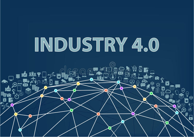 Industry 4.0 illustration background. Internet of things concept visualized by globe wireframe vector illustration