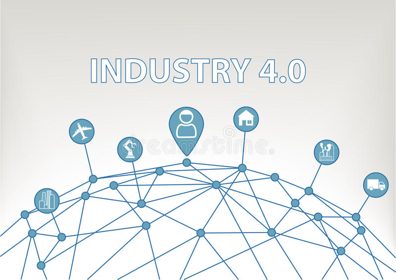 Industry 4.0 illustration background with world grid and consumer connected to devices like industrial plants, robots. Transportation, airplanes and smart home stock illustration
