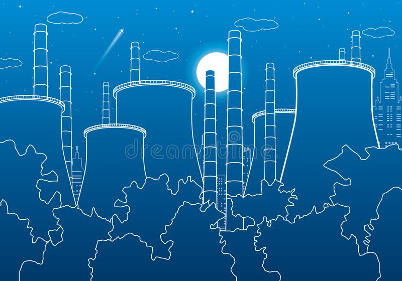 Industry illustration. Factory thermal power plant. Urban scene. Pipes and smoke. White lines on blue background. Vector design ar vector illustration