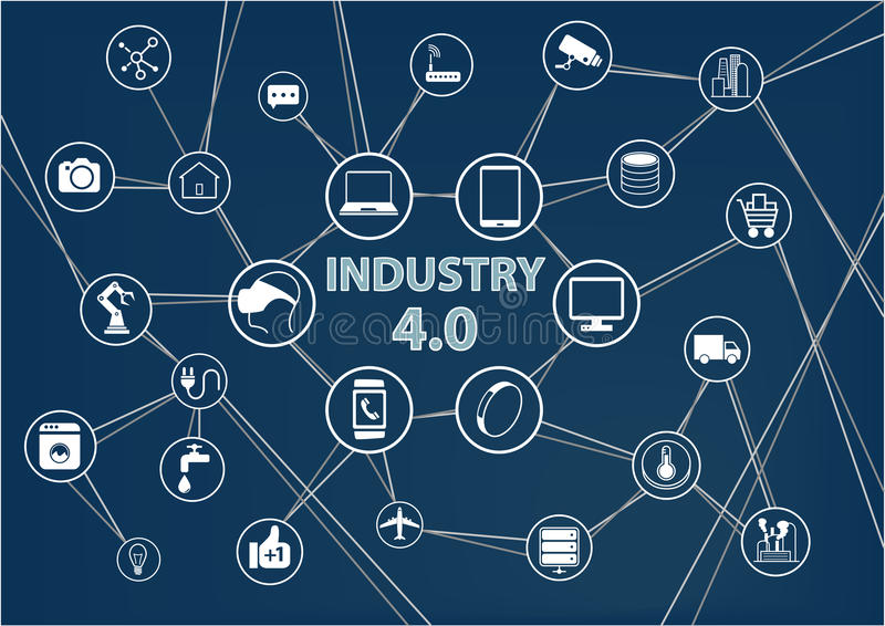 Industry 4.0 industrial internet of things (IIOT) background. Vector illustration of industrial connected devices vector illustration