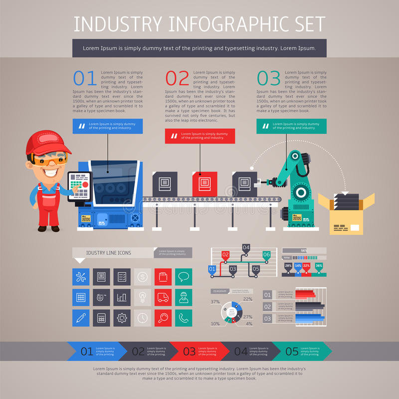Industry Infographic Set with Factory Conveyor and. Robot Arm. In the EPS file, each element is grouped separately. Clipping paths included in additional jpg vector illustration