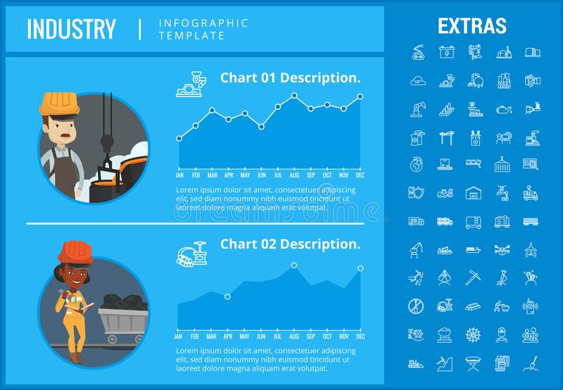 Industry infographic template, elements and icons. Infograph includes customizable graphs, charts, line icon set with mining equipment, fossil fuel royalty free illustration