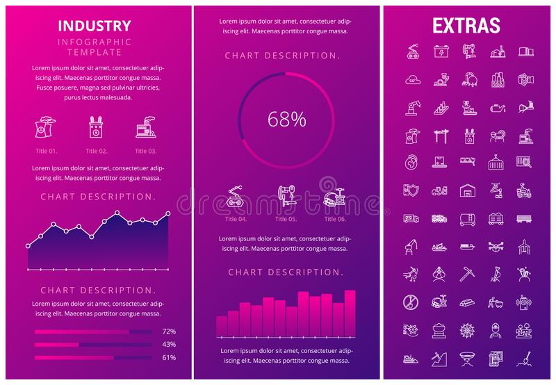 Industry infographic template, elements and icons. Infograph includes customizable graphs, charts, line icon set with mining equipment, fossil fuel vector illustration