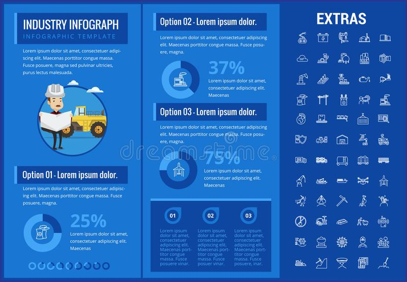 Industry infographic template, elements and icons. Infograph includes customizable graphs, charts, line icon set with mining equipment, fossil fuel stock illustration