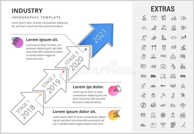 Industry infographic template, elements and icons. vector illustration