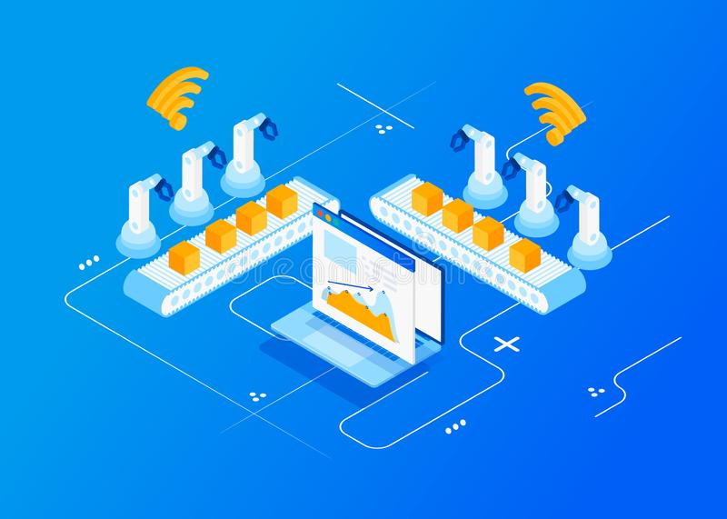 Industry 4.0, Internet of Things. Isometric Factory automation, Industry 4.0, Internet of Things, Vector illustration for connected devices using different vector illustration