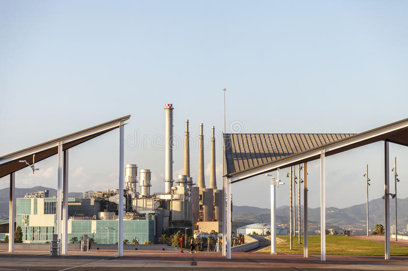 Industry landscape in Barcelona royalty free stock photo
