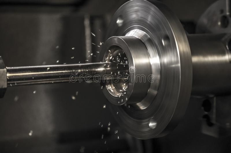 Industry lathe machine work. Production stock images