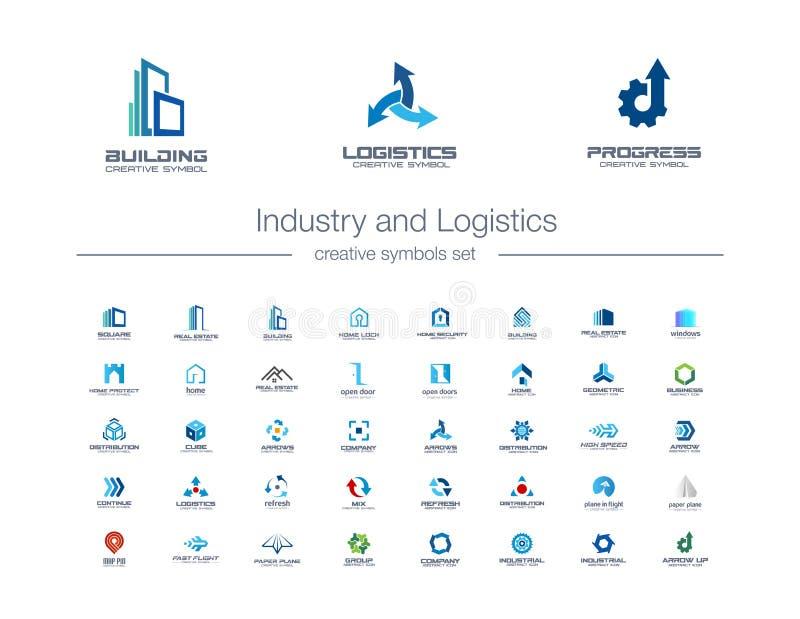 Industry and Logistics creative symbols set. Construction, transportation, engineering abstract business logo concept vector illustration