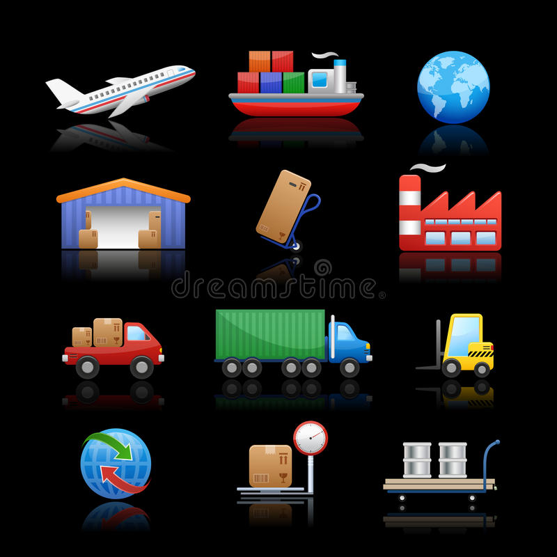 Download Industry & Logistics Icons // Black Background Stock Vector - Image: 24279130