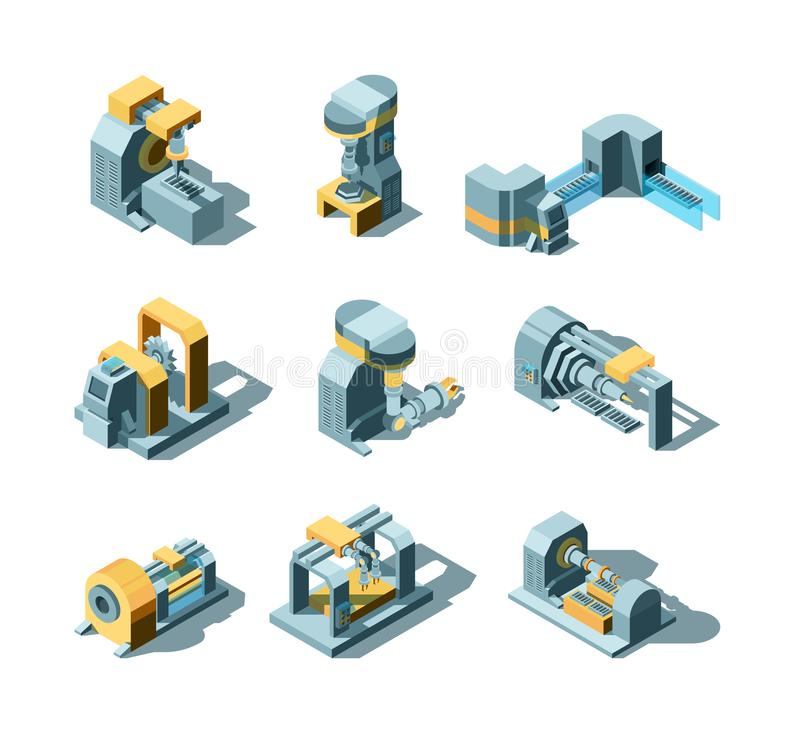 Industry machines. Machinery production working factory equipment grinder crane saw vector heavy industry isometric. Pictures. Industry equipment, machinery royalty free illustration