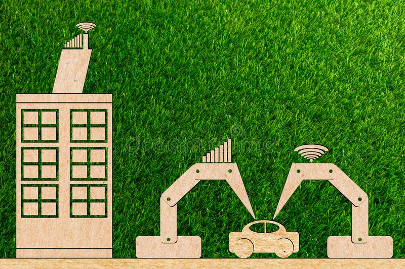 Industry 4.0 manufacture car using a robot royalty free stock photography