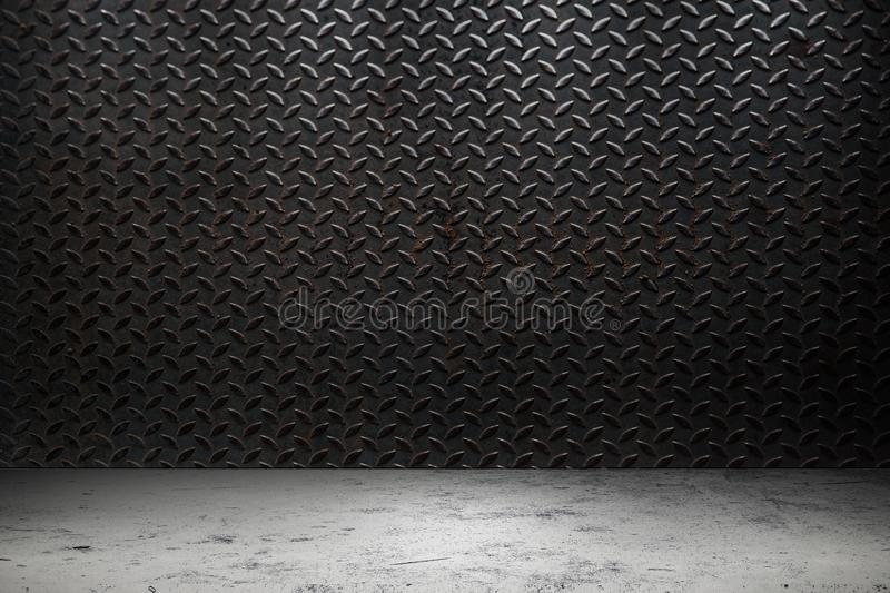 Industry metal with concrete floor warehouse. Room for background product stock image