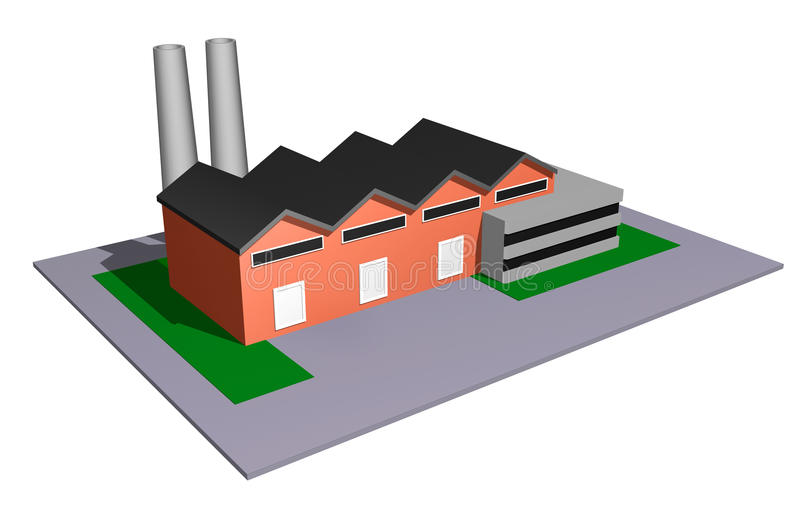 Industry model. 3d illustration of small and medium size industry concept stock illustration