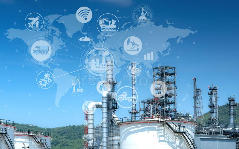 Industry oil and gas-Petrochemical refinery concept. stock photo